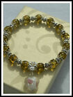 8mm OLIVE GREEN MAN MADE AMBER BEADS STRETCH BRACELET ~ SILVER ~ GOLD ~ CHARMS