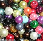 ROUND PEARL GLASS BEADS 4mm, 6mm, 8mm, 10mm Mixed Colours Jewellery Making