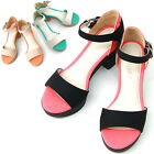 New Lovely Womens Ankle Strap Mid Heel Platform Sandal Shoes Multi Colored