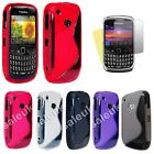S Line Wave Silicone Gel Case Cover FOR Blackberry Curve 8520 Free Screen Film