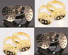 10pcs disc-shaped base Adjustable Ring Findings Golden/Silver plated rings