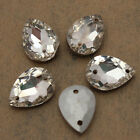 12 Grade A Sew On Glass Crystal Rhinestones Diamante Point Back Teardrop