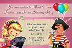 Personalised Birthday Party Invites Vintage Princess Pirate 1st 2nd 3rd 4th B19