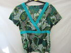 LADIES UNBRANDED  GREEN PAISLEY TOP WITH V-NECK AND SHORT SLEEVES