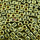 """""""M"""" Gold Cube Alphabet Letter Acrylic Plastic 6x6mm (1/4"""") Spacer Beads"""