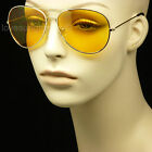 HD SUNGLASSES NIGHT DRIVING VISION SAFETY SHOOT YELLOW AVIATOR GLASSES FRAME