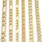 Solid Yellow White Gold Curb Cuban Figaro Mariner Necklace Bracelet Anklet Chain