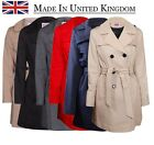 Womens Trench Coat Ladies Double Breasted Belted Fashion Coat Jacket Plus Size