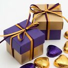 GOLD AND PURPLE SILK SQUARE BOX & LID WEDDING FAVOUR BOX -CHOOSE QUANTITY