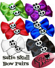 Satin Skull Bow Pairs by Kitty Deluxe EMO Punk Goth Burlesque Rockabilly