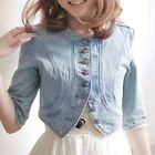 Fashion Women Girls Round Collar Short Mini Denim Coats Jean Jacket in Blue XS S