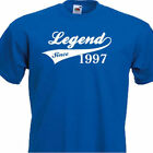 LEGEND SINCE 1997, FUNNY MENS TSHIRT 19th  BIRTHDAY PRESENT 7 COLOURS 6 SIZES