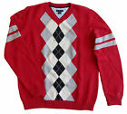 new $49 TOMMY HILFIGER boys CLASSIC RED ARGYLE KNIT SWEATER nwt L 16 / 18 XL 20