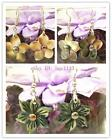 25mm Gray Mother of Pearl & Fresh Water Pearl Flower Floral Dangling Earring