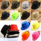New Men Women Fedora Solid Skull Prints Brim Straw Jazz Hats Trilby Gangster Cap