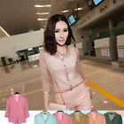 Women Fashion Casual Brocade Silk Crepe Seven Points Sleeve Top Blouse Shirt O