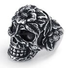 316L Stainless Steel Titanium Gothic Rose Flower Skull Punk Casted Ring M073527