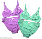 Unpadded Bra Set Teal Purple Lace 16B 16C 18B 20C / US38B 38C 40B 42C