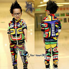 Korean Toddlers Boys Baby Child kids Mayan Totem Jumper Coat +Trousers Sets 2-7Y
