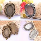Retro Grape Shaped Oval Picture Photo Frame Skeleton Charm Pendant Silver/Bronze