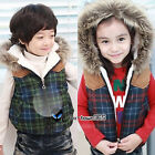 Winter Baby Child Kids Boys Girls Classic Scottish tartan Wrist Vest Coat 2-7Y