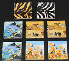 2 Ceramic square picture magnets Wild Animal Dolphin Butterfly or Safari FREE PP