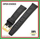 18mm BLACK Watch Strap, OPEN ENDED Real Leather, Gents