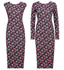 NEW LADIES BLACK MULTI FLORAL ROSE PRINT CAP LONG OR SLEEVE MIDI DRESS SIZE 8-14