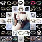 Various Multi-layer Dangle Charms Bead Bracelet Lady Girls Bangle Fashion Gift
