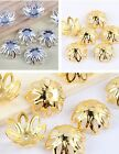 100pcs Silver & Gold Plated Flower Bead Caps Jewellery Making Crafts 12x5mm 2658
