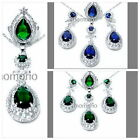 55mm pear drop Athena Sun round cz CRYSTAL pendant necklace earrings ring set