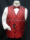mens vest waistcoat red brocade with 2 ties bow and conventional sizes S-XL