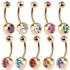 toned belly - DOUBLE CZ GEM ROSE GOLD-TONE IP STEEL BELLY NAVEL RING BUTTON PIERCING JEWELRY