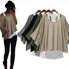 Lady's Clothing 2 in 1 Style Loose Batwing Tops Blouses Tank Casual Vest