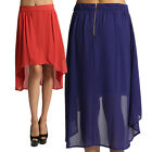 MOGAN Flap Yoke PLEATED A-Line SKIRT Ruffle Front Zip Back Midi Knee Chiffon