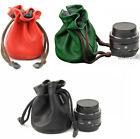 Leather Camera Lens Bag Pouch For Canon Sony NEX3/5C/NEX-C3 Panasonic Lumix GF
