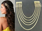 Women Boho Punk Womens Chic 2Combs Chains Tassels Fringes Hair Cuff Pin HeadBand