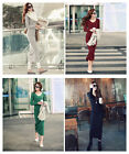 HOT Sexy Women's Lady Fall Winter Long Sleeve Cotton V-Neck Long Dress Tops Free