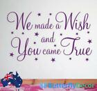 We Made A Wish You Came True Nursery Wall Quote Sticker Home Decor Vinyl Art