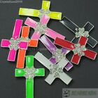 10Pcs Crystal Rhinestones Colorful Clover Cross Bracelet Connector Charm Beads