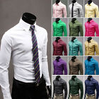 Classic Hot Mens Dress Shirt Stylish Solid Business Formal Tops 16 Colors