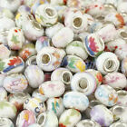 Wholesale White Ceramic Flower Floral Loose Beads Fit Charms Bracelet Jewelry