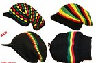 RASTA Unisex Black & Colour Knitted Baggie Beanie Slouch Hat With Peak  NEW
