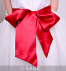 Girls Satin Large Sash Bow Red or Black Wedding Christening Dress or Chairs  New