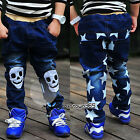 Autumn Korean Toddlers Boys Baby Child Kids Skull Star Jeans Trousers Pants 3-9Y