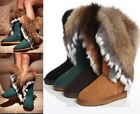 Womens Winter Warm Fox Rabbit Fur Real Leather Boots Snow Boots UK 2-8
