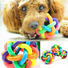Dog Puppy Cat Pet Rainbow Colorful Rubber Sound Ball Bell Chewing Toy 4 Sizes