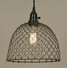 Vintage Rustic Industrial Primitive Chicken Wire French Pendant Lights Hang Lamp