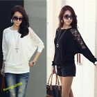 Hot Elegant Women Girls' Batwing Lace Long Sleeve Ladie Loose T Shirt Blouse Top