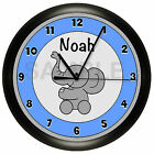 ELEPHANT WALL CLOCK NURSERY DECOR BLUE GRAY CHILDREN'S BEDROOM GIFT SHOWER